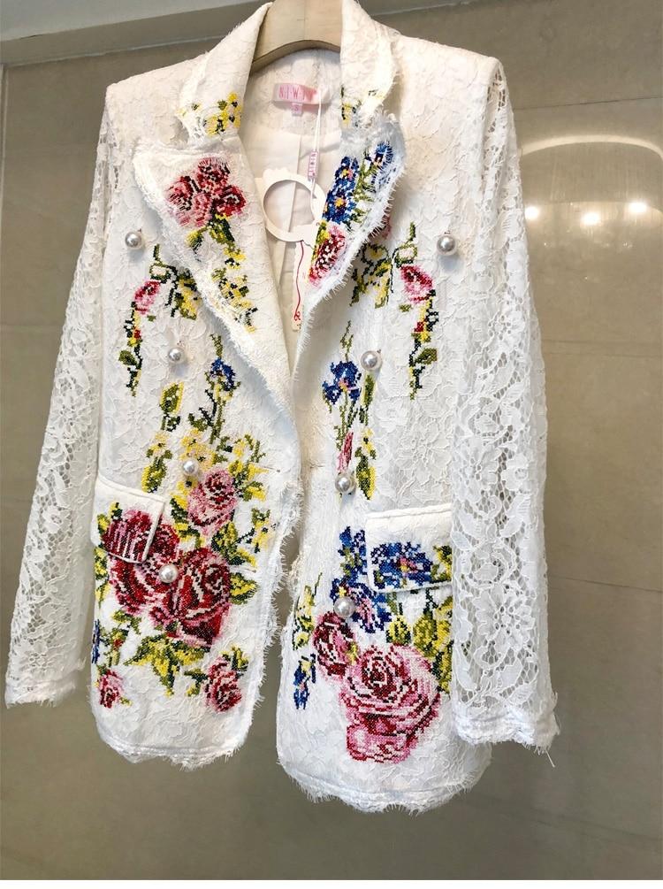 Fleurs Broderie Affaires Blazers Costume 2018 Mode Bureau Haute Femmes Blanc Dentelle Formel Lady Vestes Style De Belle BnwxEWI
