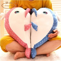 Free shipping 55cm Couples Dolphin Doll Whale Pillow Soft Plush Toys