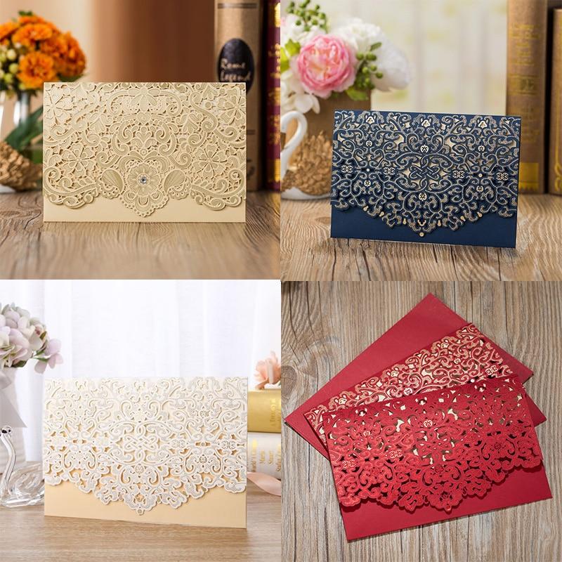 1pcs Gold Red White Laser Cut Luxury Flora Wedding Invitations
