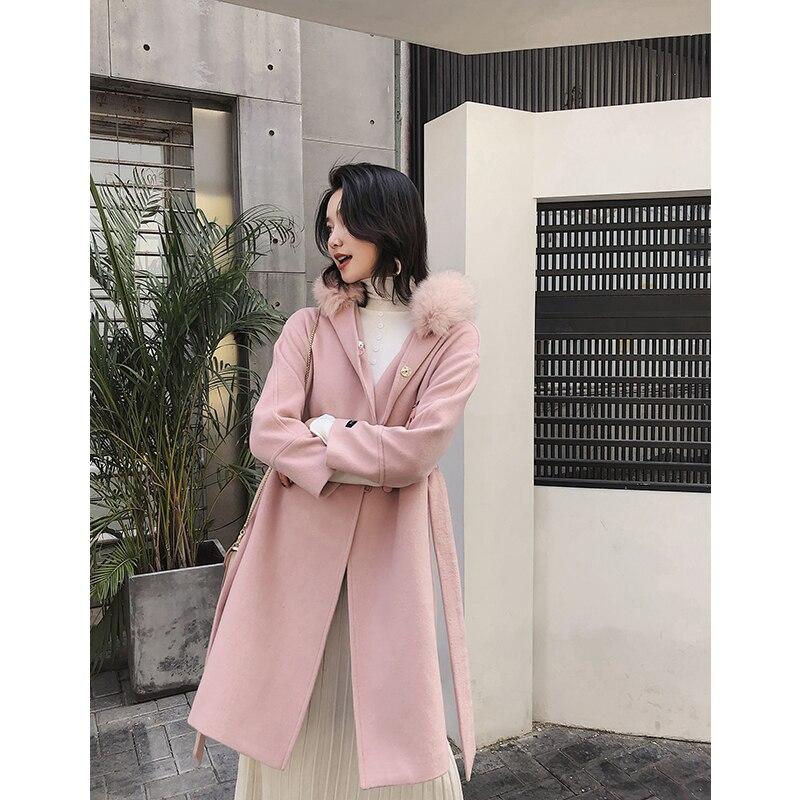 Casaco De Lã das Mulheres de alta qualidade Tamanho Grande Dw117 Mm2019 Inverno Novo Casaco De Lã Elegante Casaco de Lã Cor de Rosa - 2