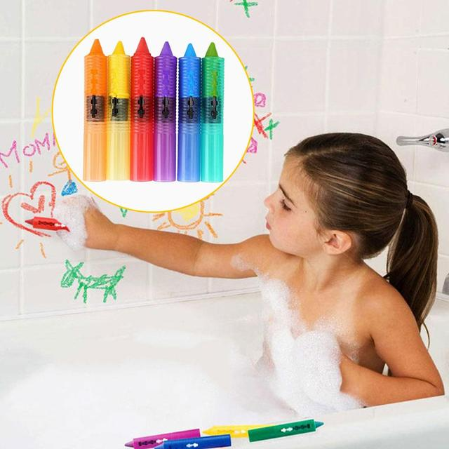 6 Pcs/Set Baby Kids Bathing Washable Bath Crayons Bath ...