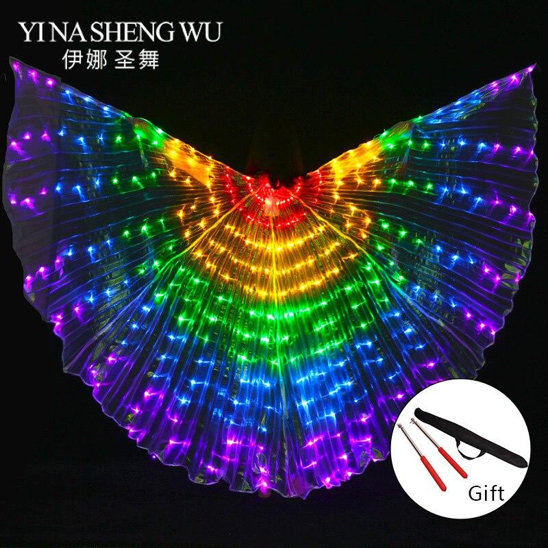 Accessoires de Performance de scène Femmes De Danse Accessoire DJ LED De Danse Ailes Lumière Up Wing Costume LED De Danse Ailes Arc-En-Couleurs Avec bâton