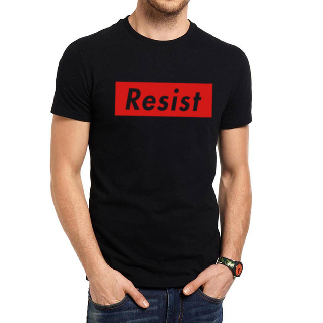 Mens Resist Anti Protest T-Shirts in Black, Grey Colors and Size-S,M,L,XL,XXL