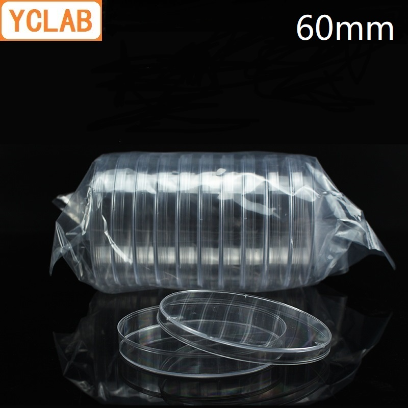 YCLAB 10PCS 60mm Petri Bacterial Culture Dish PS Plastic Disposable Sterile Polystyrene Laboratory Chemistry Equipment