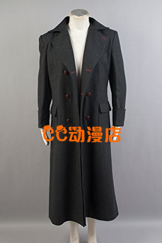 2016 Custom Made Sherlock Holmes Coat Adult Cosplay Costume Black Movie Sherlock Holmes Outfit