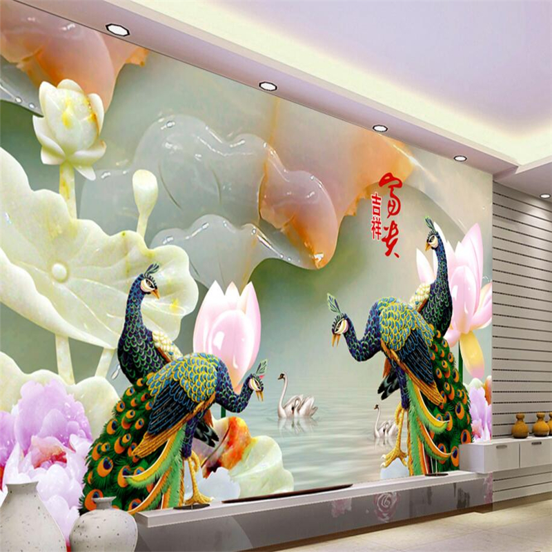 3d custom wallpaper home decoration picture relief peacock living room 3 d background photo mural