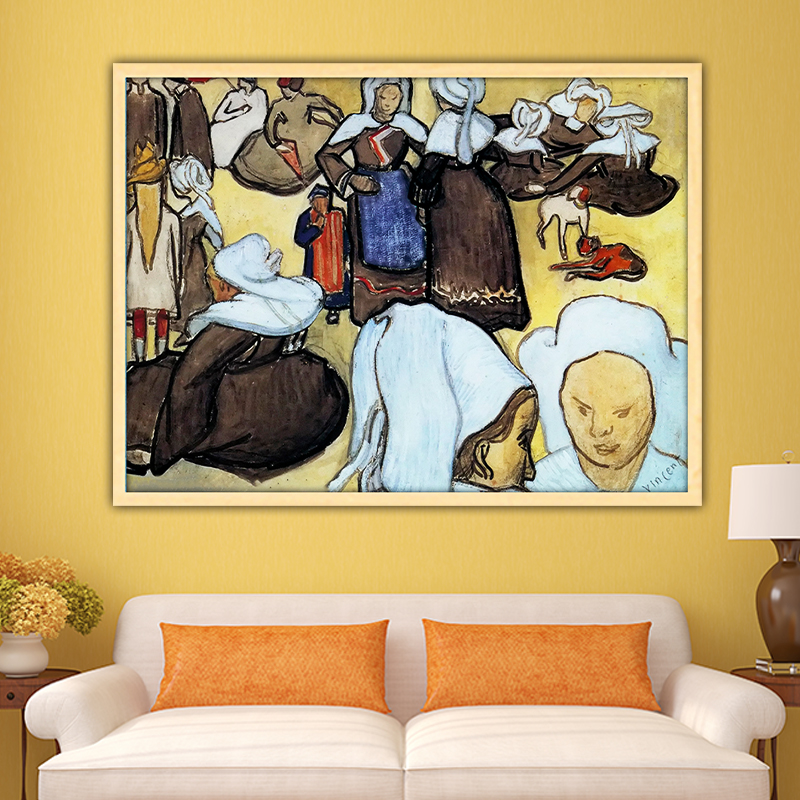 Van Gogh  breton women and children diy by numbers art paint impressionist paint adult hand drawing living room decoration color