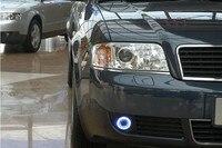 Eosuns инновационные COB Ангел глаз светодио дный дневного света DRL + Галогенные Противотуманные фары + объектив проектора для Audi A6 A6L C5 2004