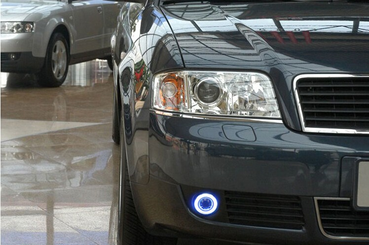 eOsuns Innovative COB angel eye led daytime running light DRL + halogen Fog Light + Projector Lens for Audi A6 A6L C5 2004 eosuns cob angel eye led daytime running light drl halogen fog light projector lens for volkswagen vw caddy