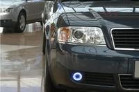eOsuns Innovative COB angel eye led daytime running light DRL + halogen Fog Light + Projector Lens for Audi A6 A6L C5 2004