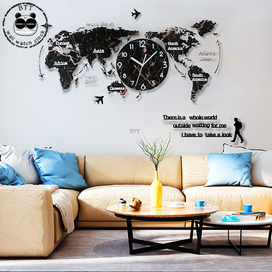 Large World Map Wall Clock On The Wall Modern Design Texture 3D Decorative Acrylic Stickers Clocks Wall Watch
