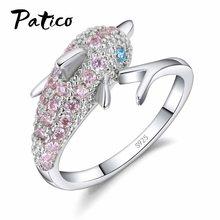 900242bcd04fa PATICO De Luxe 925 Bague En Argent pour les Femmes Fille Cadeau Rose  Cubique Zircon Bleu Yeux Dauphin Autrichien Partie Bague Cr..