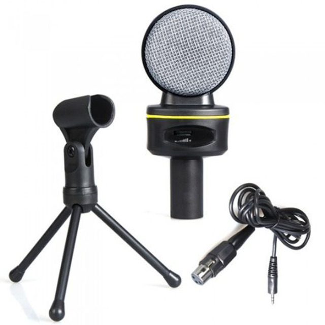 Professional 3.5mm Stereo Condenser Recording Microphone Mic For Meeting/MSN/Skype/Singing