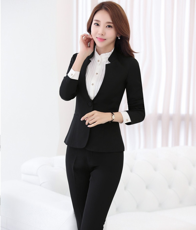 Plus Size 4XL Formal Black 2016 Autumn Winter Professional Business Suits With Jackets And Pants Female Trousers Sets Blazers