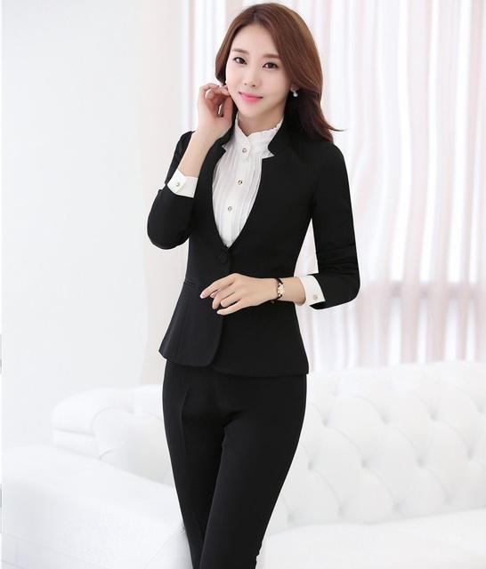 Plus Size 4XL Preto Formal 2016 Outono Inverno Ternos de Negócio Profissional Com Conjuntos Blazers Jaquetas E Calças Femininas