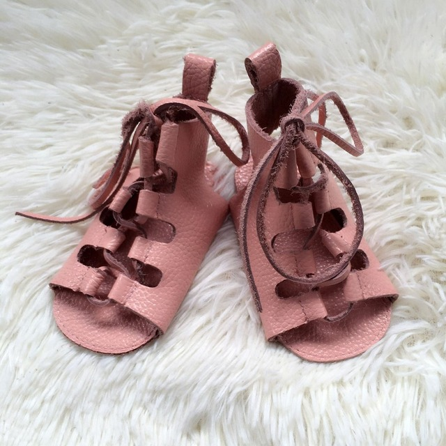 50pcs summer genuine leather baby barefoot sandals princess soft sole lace up baby girls gladiator sandals kids shoes wholesale