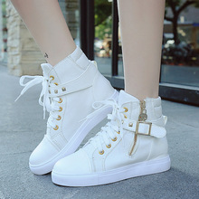 New Round Toe Buckle Strap Woman Short Boots Punk Lace Up Golden Rivets Ankle Boots For Womens Motorcycle High Top Canvas Shoes