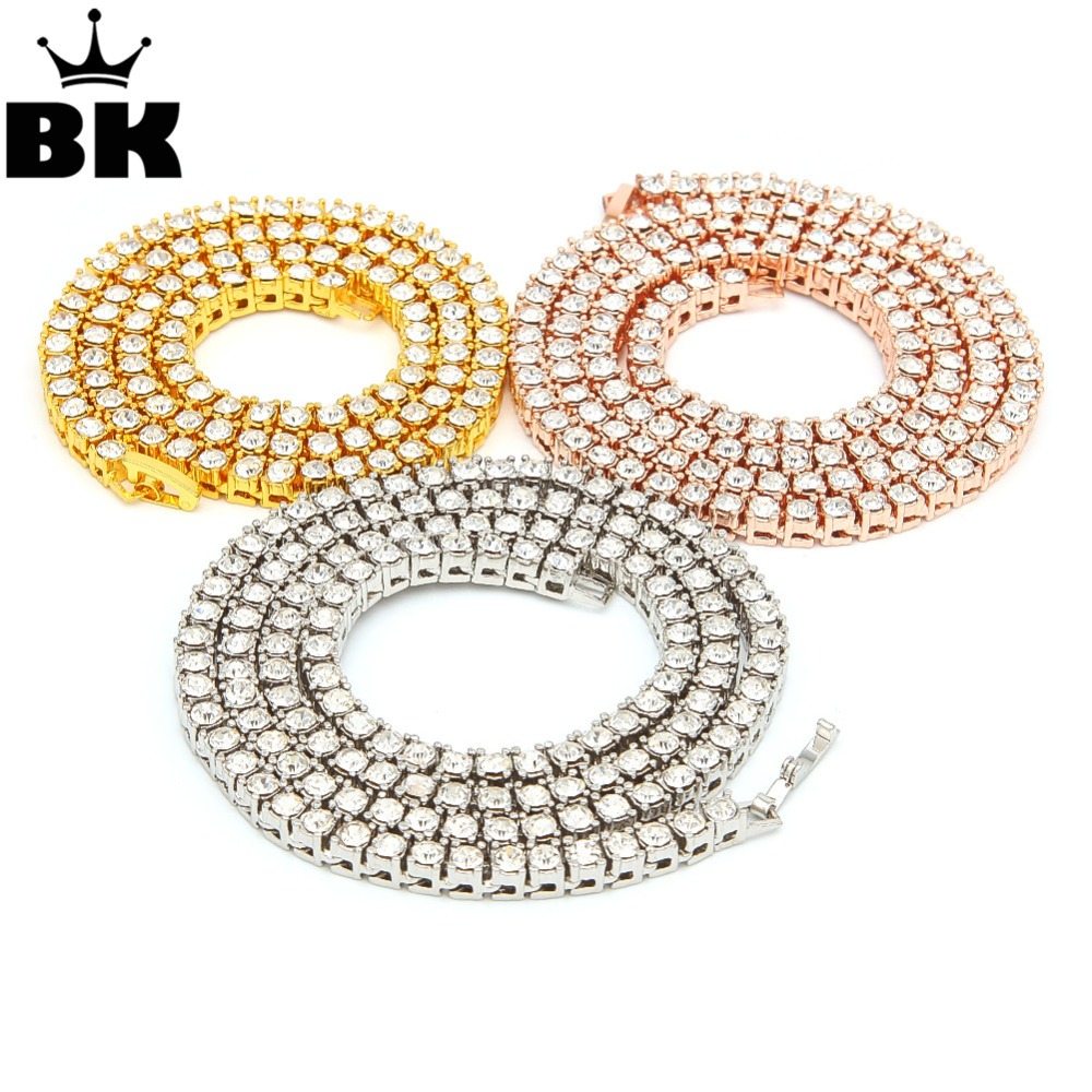 2018 New Color 3/4/5mm 1 Row Round Cut Rhinestone Tennis Chain Necklace 16-36inch Gold, Silver, Black, Rose Gold, Gun Black
