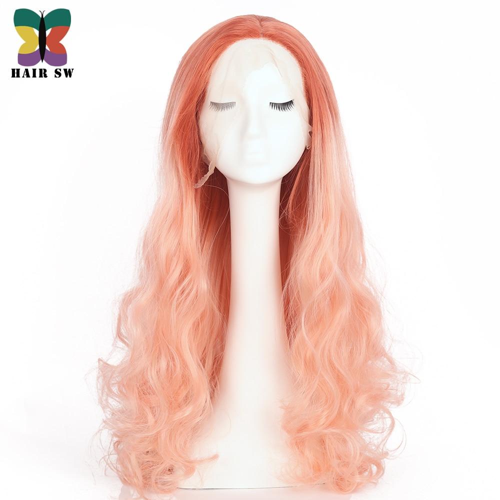 HAIR SW Lång Kroppsvåg Syntetisk Snörning Fram Wig Persika Rosa - Syntetiskt hår