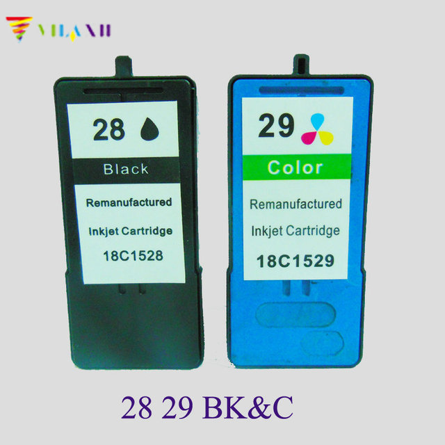 2PK Black Color Ink Cartridge For Lexmark 28 29 Z845 X5410 X5490 X5495