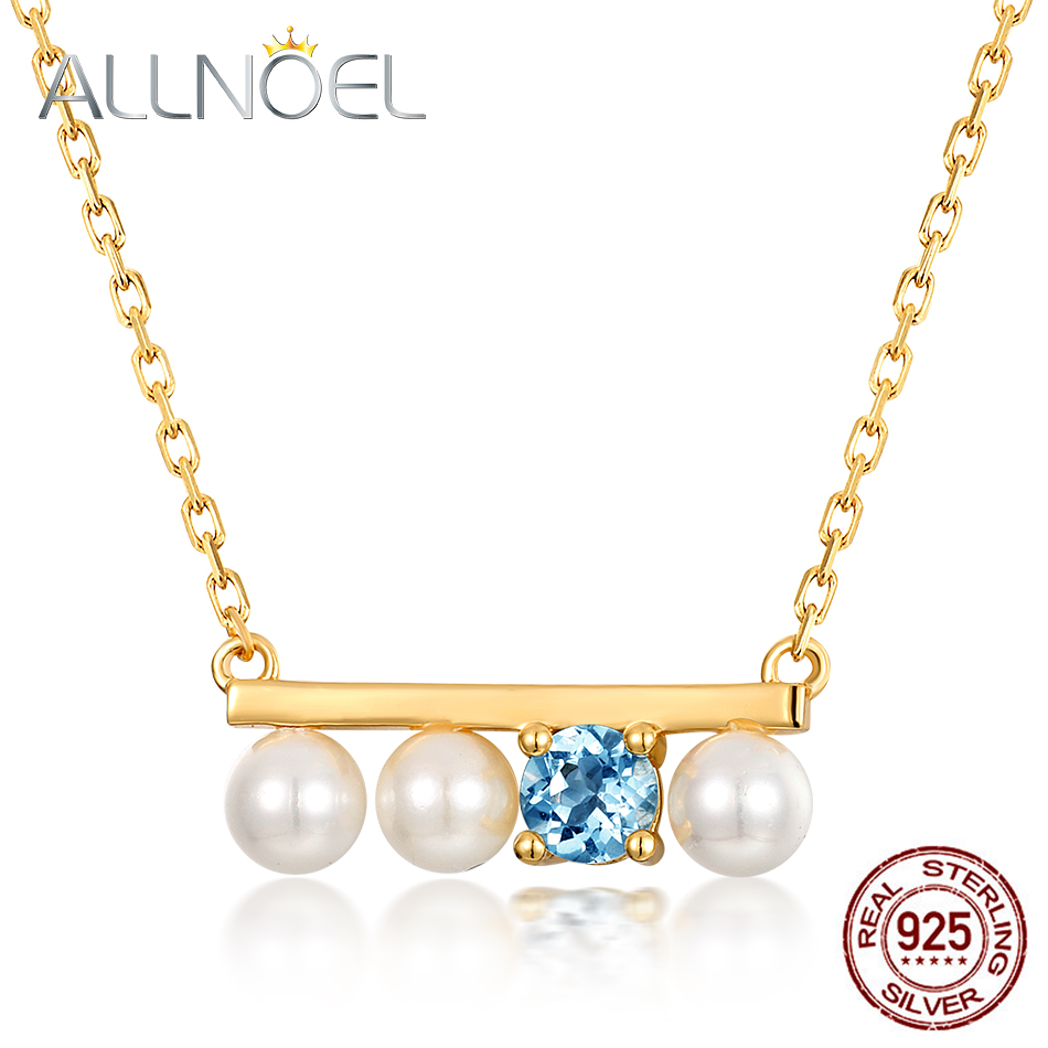 ALLNOEL 2019 New Real 925 Sterling Silver Necklace For Women Treshwater Pearl Natural Topaz Gold Chain Necklaces Indian JewelryALLNOEL 2019 New Real 925 Sterling Silver Necklace For Women Treshwater Pearl Natural Topaz Gold Chain Necklaces Indian Jewelry
