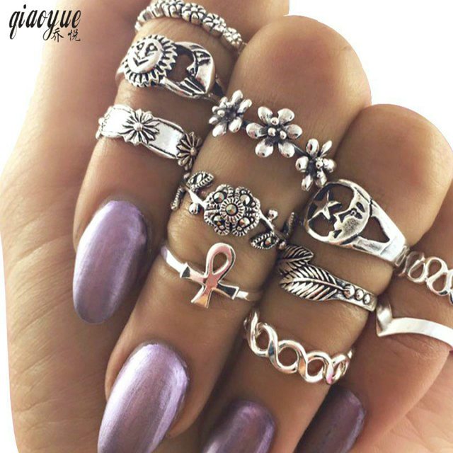 11pcs/Set Vintage Beach Ring Punk Hollow Moon Sun Flower Leaf Rings Set Carved B