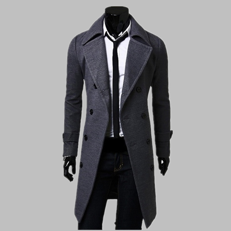 Fashion Men Trench Coat Men Gray Long Coat Winter Cool Famous Brand Mens Overcoat Double-Breasted Slim Fit Men Trench Coat small grill cover