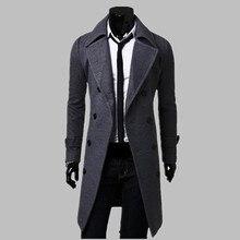 אופנה גברים תעלת מעיל גברים אפור ארוך מעיל חורף מגניב מפורסם מותג Mens מעיל רכיסה כפולה Slim Fit גברים תעלת מעיל