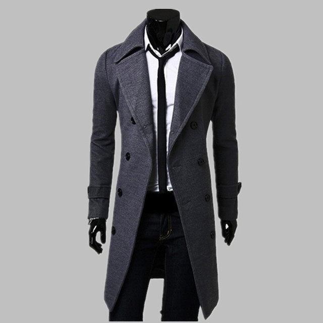معطف رجالي أنيق معطف طويل رمادي شتوي ماركة شهيرة رائعة معطف رجالي ذو قصة مزدوجة الصدر معطف مطر للرجال