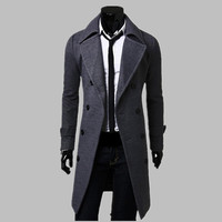 Fashion Men Trench Coat Men Gray Long Coat Winter Cool Famous Brand Mens Overcoat Double-Breasted Slim Fit Men Trench Coat