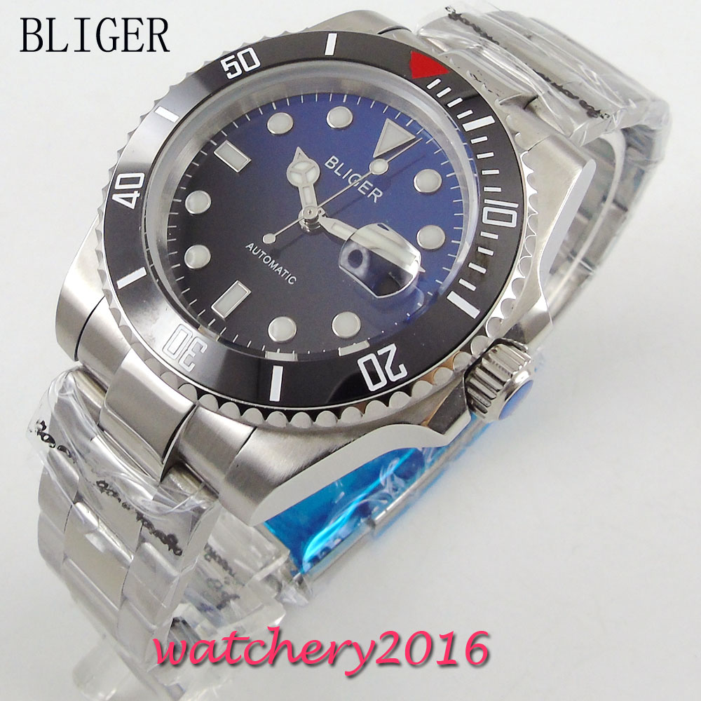 Fashion 40mm Bliger Black Blue Dial ceramic bezel Stainless Steel Sapphire Glass Men's Date window Automatic Movement WristWatch bliger 40mm gray dial date blue ceramics bezel stainless steel case saphire glass automatic movement men s watch