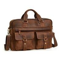 100% коровья кожа Для мужчин Портфели из натуральной яловой кожи Большой сумка мужской Бизнес сумка ноутбук человека Сумки