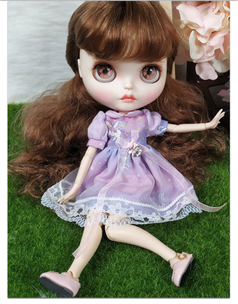New In Purple Dress 30 cm 12 inchs Blyth Doll Bjd Joint Body Doll With White