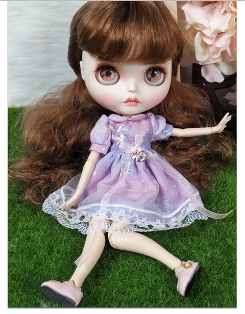 Новое фиолетовое платье 30 см 12 дюймов Blyth кукла Bjd кукла с гибкими суставами с белой кожей лица и длинными волосами милая кукла Blyth