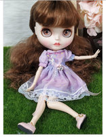 New In Purple Dress 30 cm 12 inchs Blyth Doll Bjd Joint Body Doll With White Skin Face And Long Hair Cute Blyth Doll