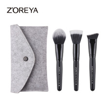 hot deal buy zoreya brand 3pcs classic black makeup brushes set  angled foundation duo fiber  face brushes beauty makeup tools