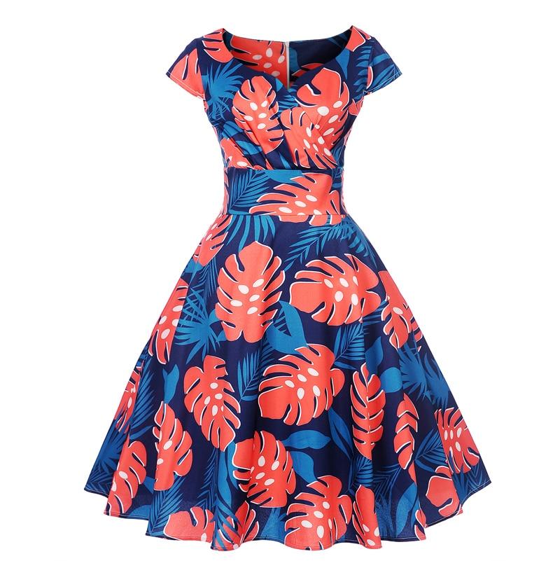 Casual cotton short sleeves dress women's summer 2019 sexy print dress dress Korean elegant robes women's clothing dress
