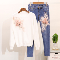 Autumn New Fashion Bead Flower Long Sleeved Pullover Sweater Shirt + Slim Jeans Suit Girl Students Two Piece Pencil Pants Suit