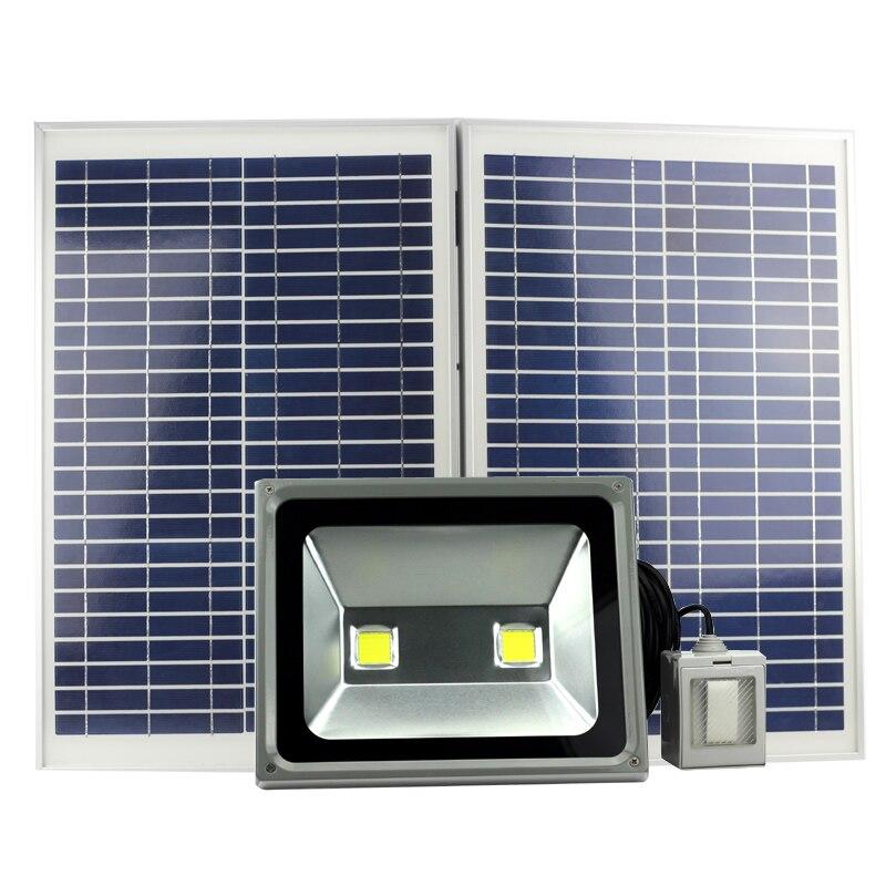 100 W led lumière solaire extérieure solaire jardin réverbère dimmable eith 6 m cordon interrupteur runtime4-12hours
