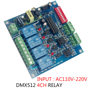 цена на 4CH RELAY DMX-RELAY-4CH-220-BAN DMX512 DECODER led Converter AC110V~220V 4 Group Relay switch channel Relay module 4A Controller