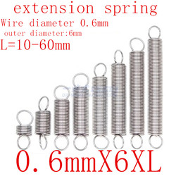 10 шт./лот 0,6 мм 0,6 мм x 6 мм x L пружина удлинения из нержавеющей стали внешний диаметр 6 мм, длина 10-60 мм