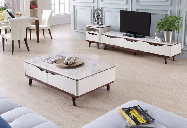 Lizz contemporary white living room furniture TV stand and coffee ...
