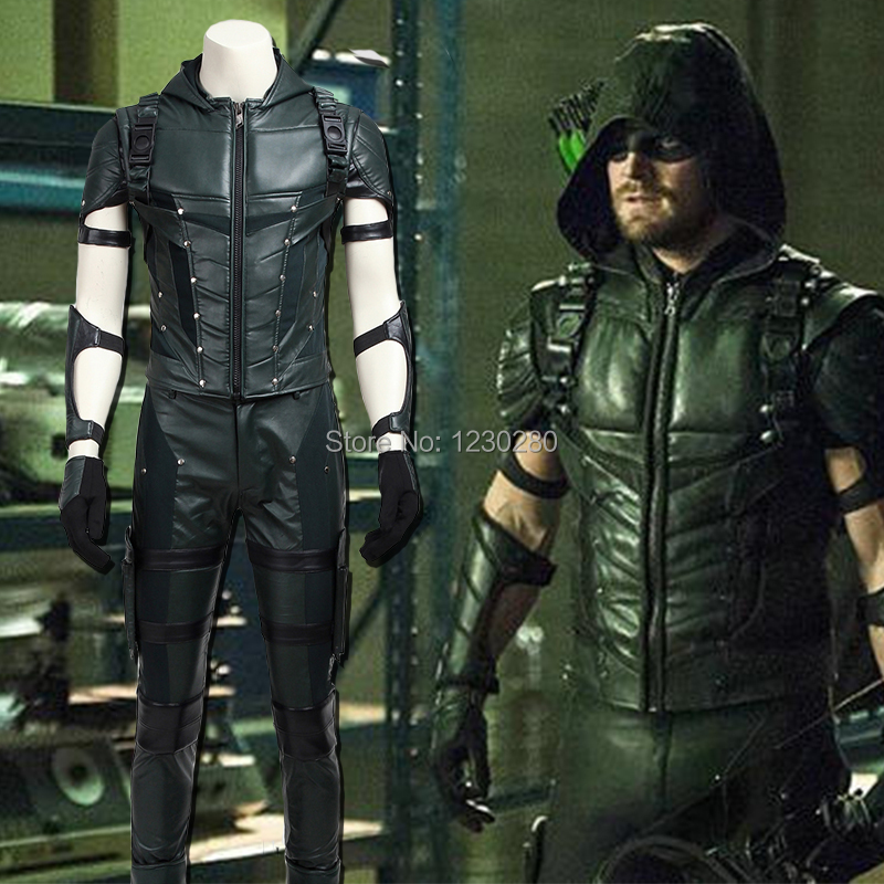 Green Arrow Season 4 Oliver Queen Costume Superhero Outfit TV Show Arrow Cosplay Suit Halloween Costume Adult Men Custom Made