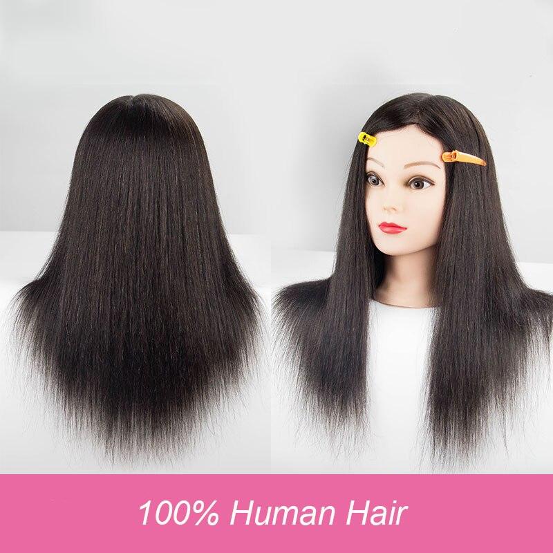 100% Human Hair Mannequin Head For Salon Curl Paint Dye Cut Manikin Maquiagem Hairdressing Head Wig Head 18 Training Doll Head