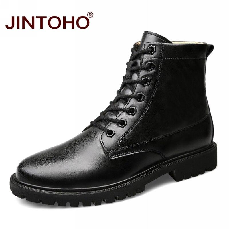 Unter Der Voraussetzung Jintoho Große Größe Männer Ankle Stiefel Fashion Echtes Leder Winter Männer Schuhe Qualität Echt Leder Schuhe Für Männer Italienische Männer Booties Home