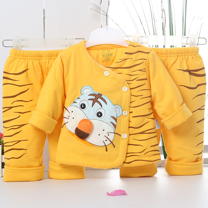 2017 Baby Kids spring Fall Winter Clothing Set Newborn Thick Cotton-Padded Clothes Boys Girls tiger stripe Coat+pants 3pcs spring baby boys girls clothing winter baby hooded rompers cotton padded kids warm overalls climb clothes for newborn babies