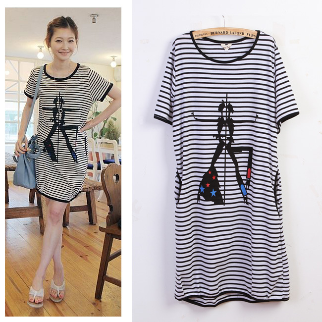 Fashion plus size skirt for fat girls women summer loose short-sleeve  stripe personalized 100% cotton casual one-piece dress