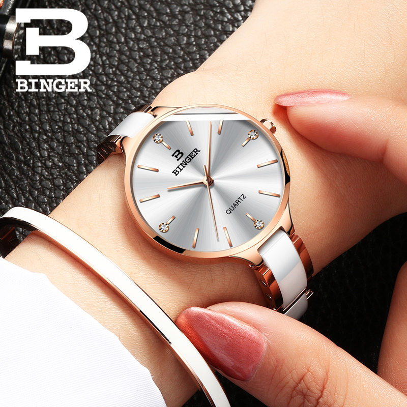 Image 5 - Switzerland Binger Ceramic Quartz Watch Women Casual Luxury Brand Wristwatches Gift Bracelet Relogio Feminino Montre Relogio-in Women's Watches from Watches