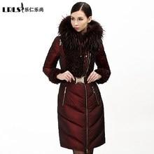 High quality Royalcat 2016 Winter Jacket women down jackets luxury fur coats medium-long hooded down coat women's slim outerwear