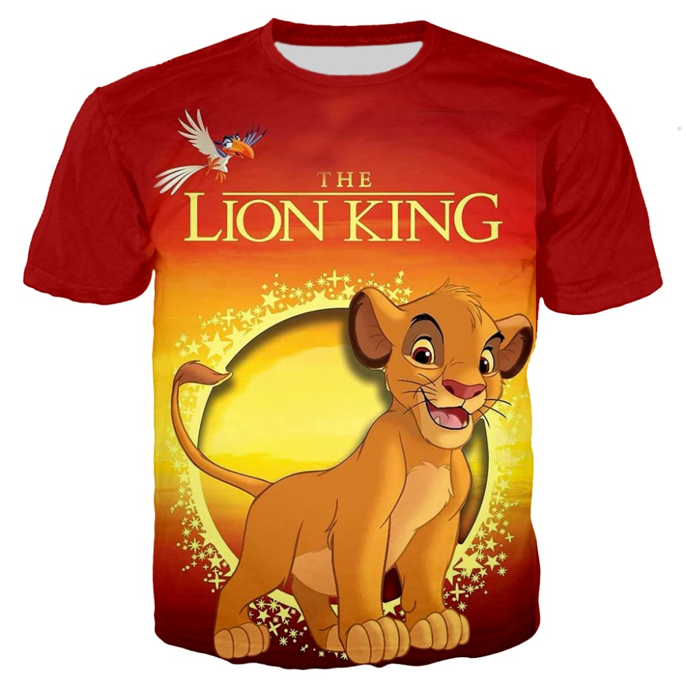 Family Boy Tees The Lion King Simba 3D Printing Tshirt Kids Cosplay Children Cartoon Tee Baby Tops Summer Short Sleeve T-shirt